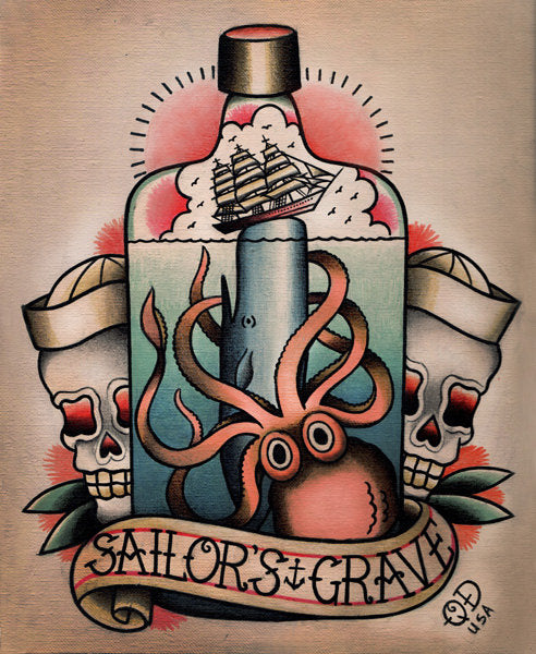 Sailor's Grave Nautical Tattoo Flash