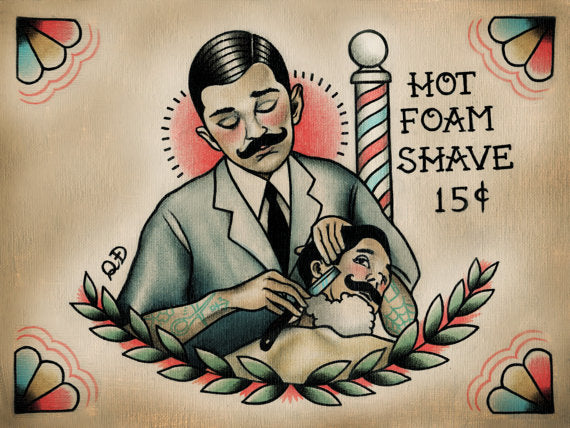 Barber and Patron Tattoo Print