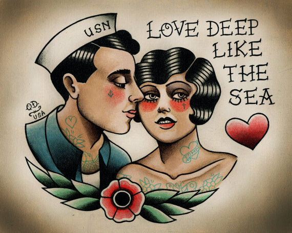 Sailor and Flapper Traditional Tattoo Print