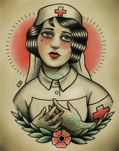 Nurse Flapper Traditional Tattoo Flash