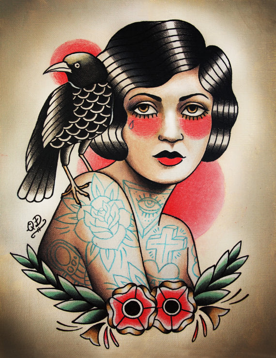 Flapper and Raven Tattoo Art Print