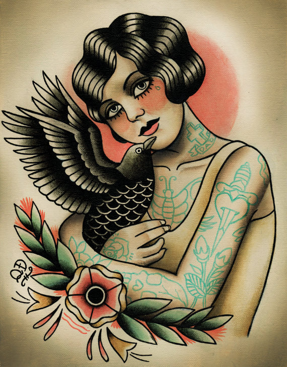 Flapper and Crow Tattoo Art Print