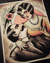 Vintage Lover's Barbering Tattoo Print