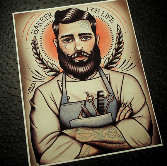 Barber For Life Tattoo Art Print