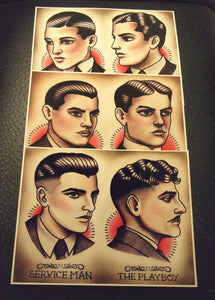 1920's Gentlemen's Hairstyle Barber Barbering Guide Set of 3