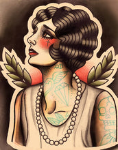 Melancholic Flapper Tattoo Art Print