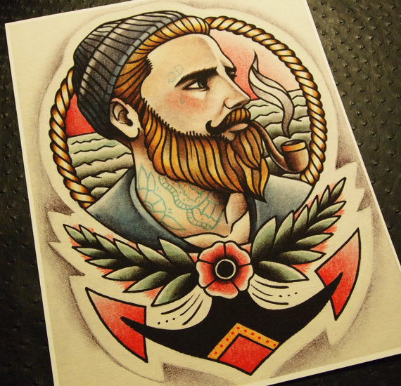 The Ginger Sailor Tattoo Art Print
