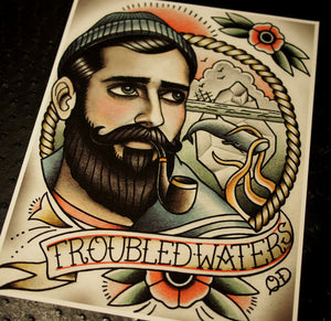 Troubled Waters Tattoo Art Print