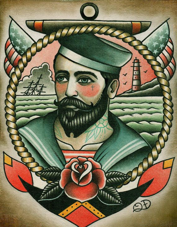 Sailorman Tattoo Art Print