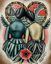 Sunset Flappers Traditional Tattoo Flash Art Print