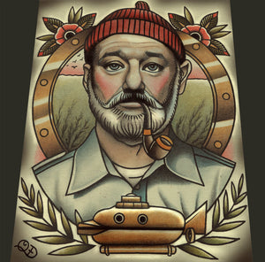 Steve Zissou Life Aquatic Tattoo Flash Art Print