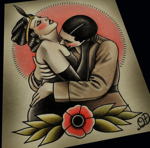 Vintage Embrace Traditional Tattoo Print