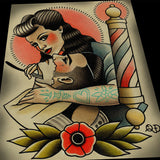 Rockabilly Lady Barber Barbering Tattoo Print Art
