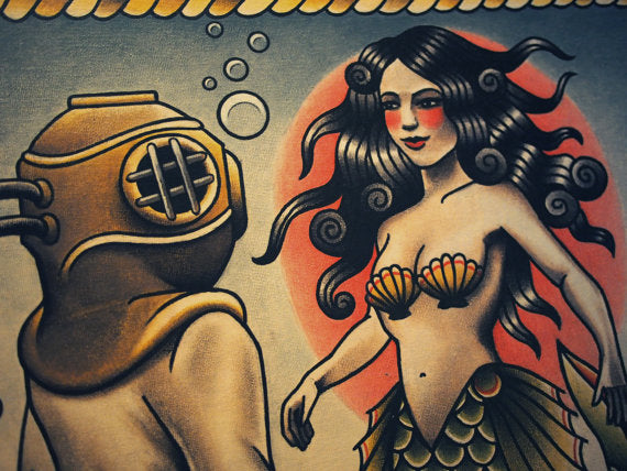 Love At First Dive Tattoo Art Print