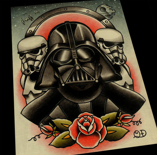 Darth Vader and Storm Troopers Tattoo Flash Art Print