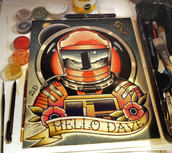 Hello Dave (2001: A Space Odyssey) Tattoo Flash Art Print