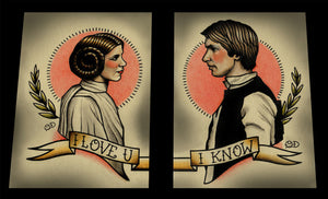 Double Prints Leia and Han Solo Tattoo Flash Art Print