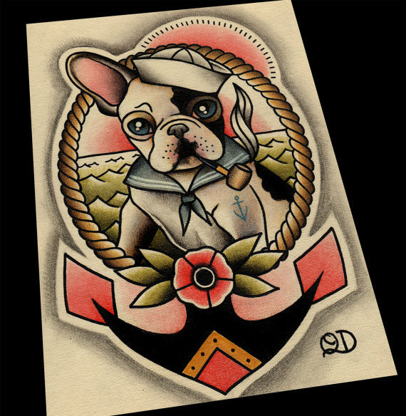 Frenchie (Black and White) Sailor Tattoo Flash