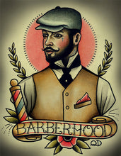 Barberhood Barber Barbering Tattoo Flash Art Print
