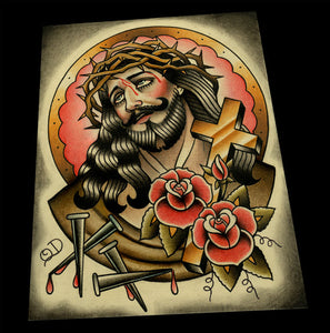Classic Jesus Color Tattoo Flash Art Print