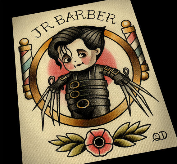 Edward Scissorhands Junior Barber Tattoo Flash Art Print