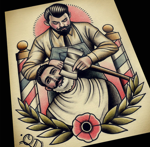 Axe Shave Barber Barbering Tattoo Flash Art Print
