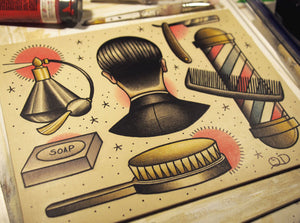Tools of the Trade Barber Barbering Tattoo Flash Art Print