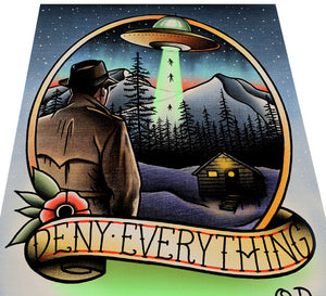 Deny Everything Tattoo Flash Art Print