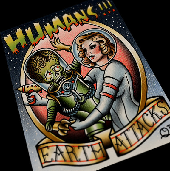 Human Attacks Tattoo Flash Art Print