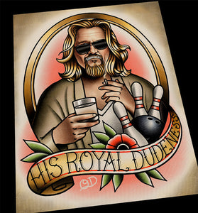 The Dude The Big Lebowski Tattoo Flash Art Print