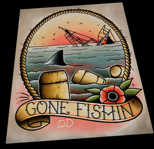 Jaws (Gone Fishin') Tattoo Flash Art Print