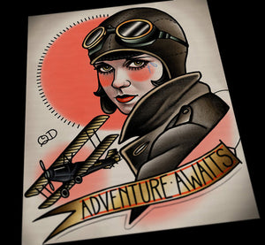 Aviator Flapper Tattoo Art Print