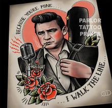 Johnny Cash Tattoo Flash Art Print