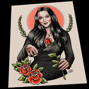 Classic Morticia AddamsTattoo Flash Art Print