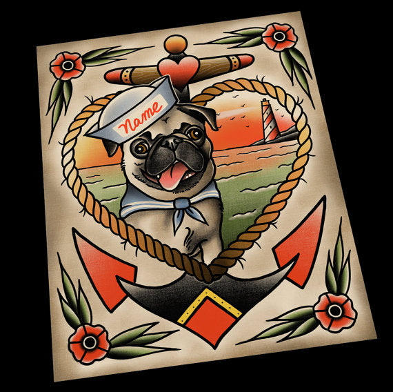 Personalized Pug Portrait