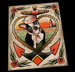 Personalized Boston Terrier Portrait