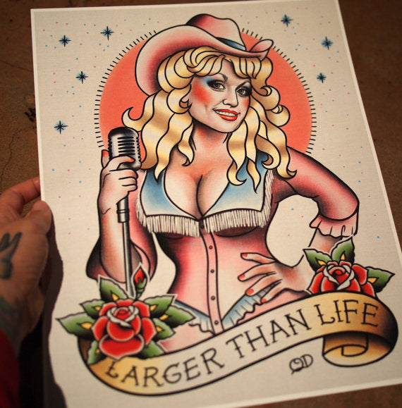 Dolly Parton Tattoo Flash Art Print