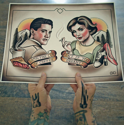Dale Cooper and Audrey Horne (Twin Peeks) Tattoo Flash Art Print