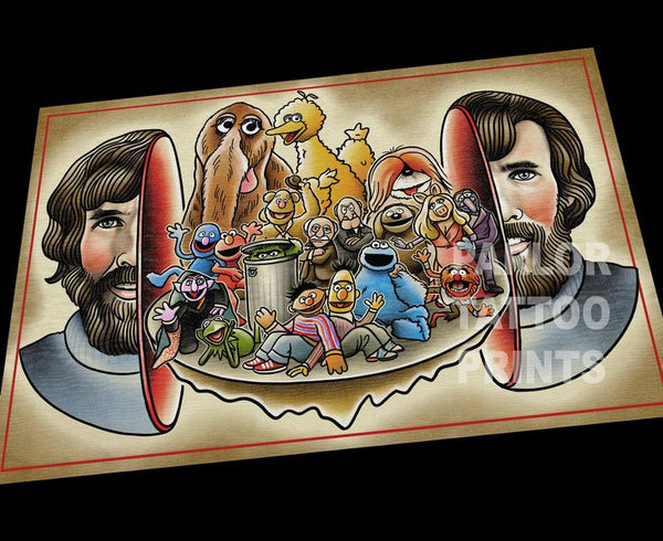 Jim Henson Split Head Art Print