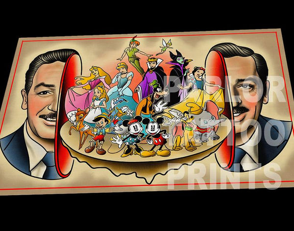 Walt Disney Split Head Art Print