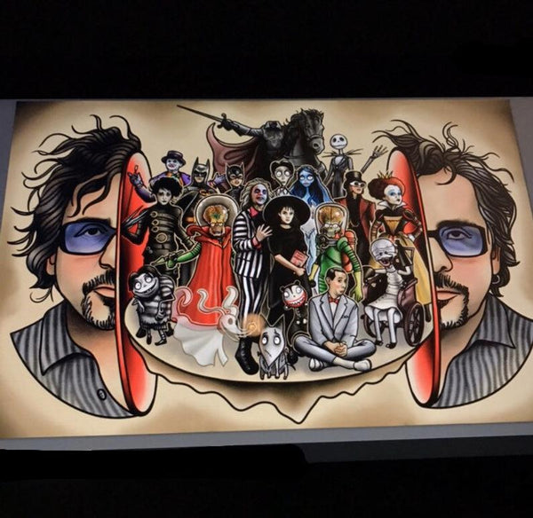 Tim Burton Split Head Art Print