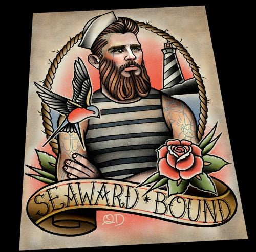 Seaward Bound Tattoo Flash Art Print
