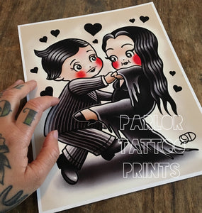 Morticia and Gomez Kewpie Tattoo Flash Art Print