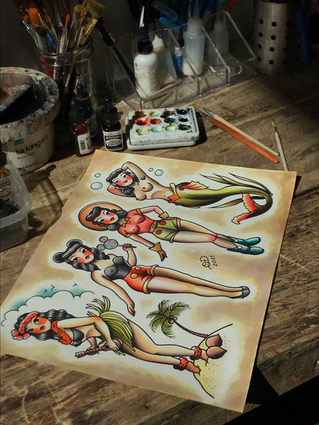 Pinup babes Tattoo Flash Art Print
