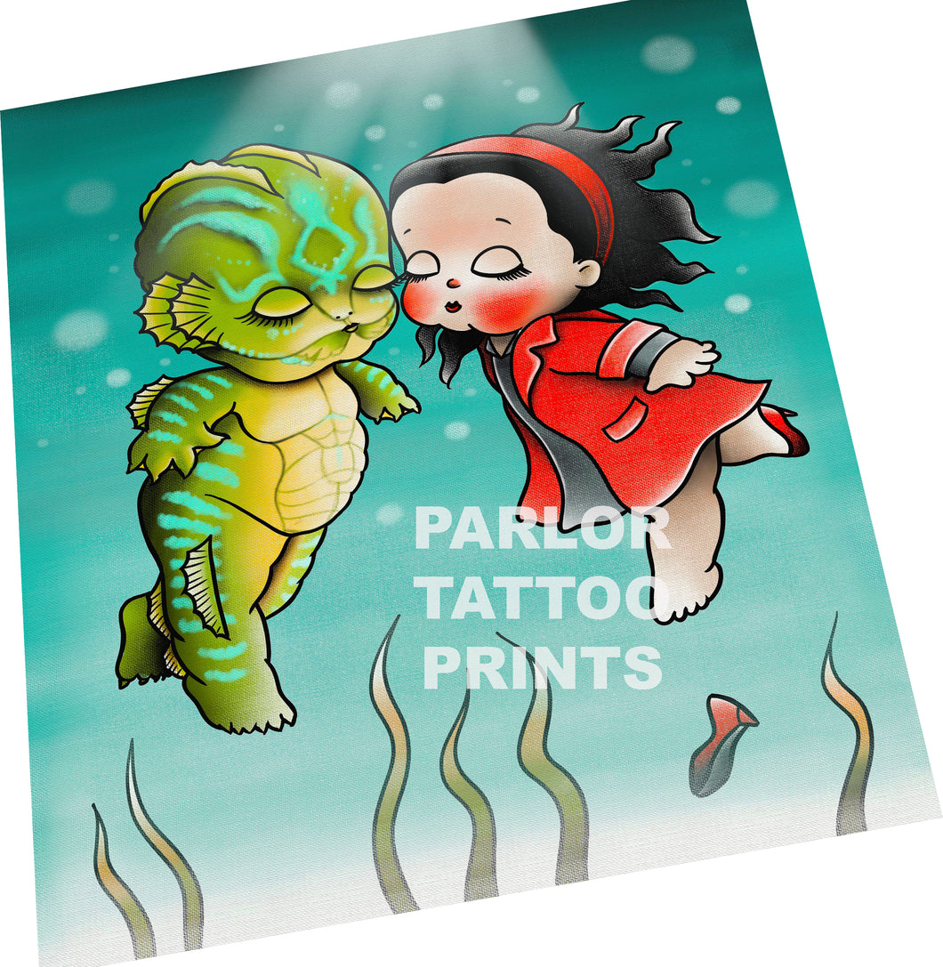 Kewpie Shape of Water Tattoo Flash Art Print