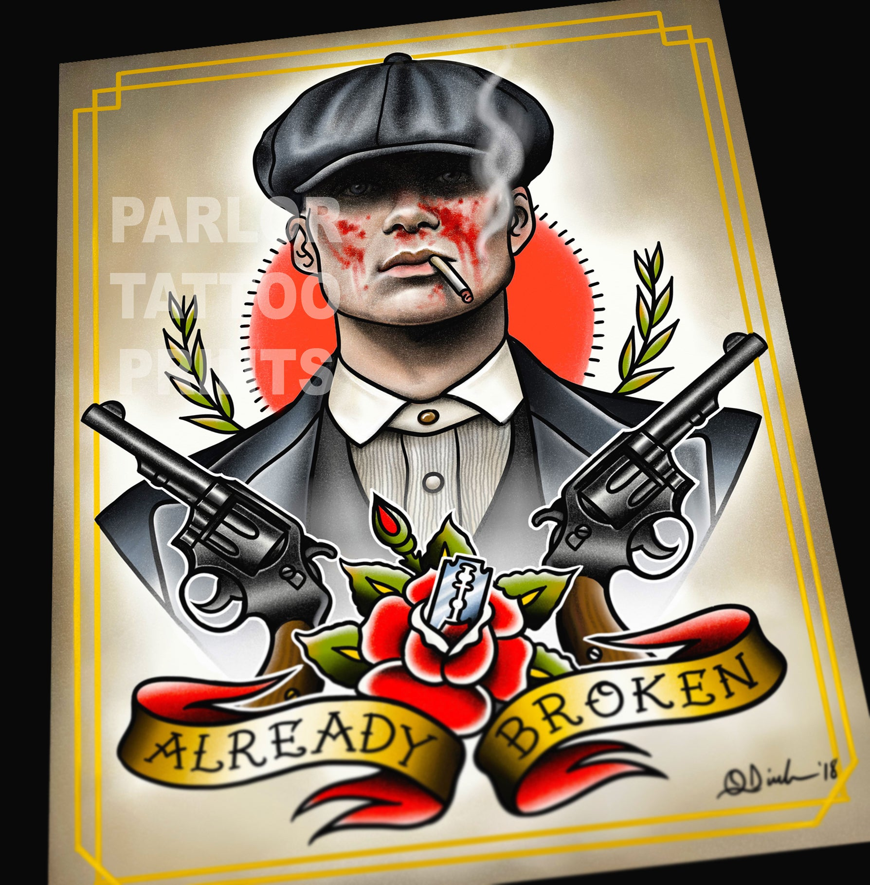 Peaky Blinders Tommy Shelby Tattoo Flash Art Print – Parlor Tattoo ...