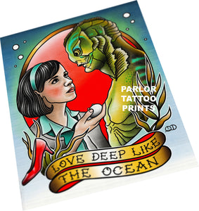 Shape of Water Tattoo Flash Art Print