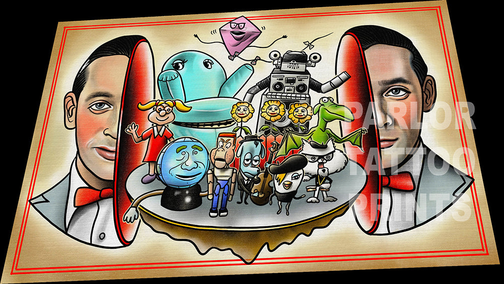 Peewee's Big Head Tattoo Flash Art Print