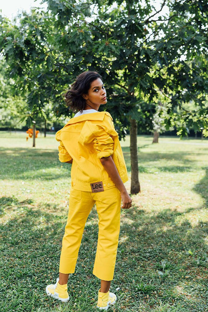 Alife/Lee Colored Cotton Twill Pant in Yellow on female model