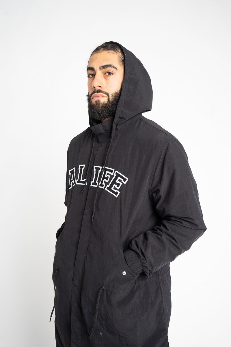 Alife® Collegiate Nylon Parka Jacket - Black